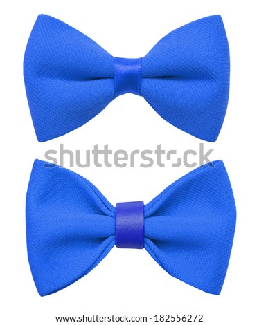 blue bow tie isolated on the white  - stock photo