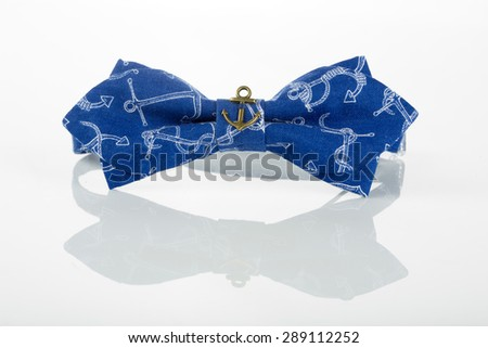blue bow tie with anchors  - stock photo