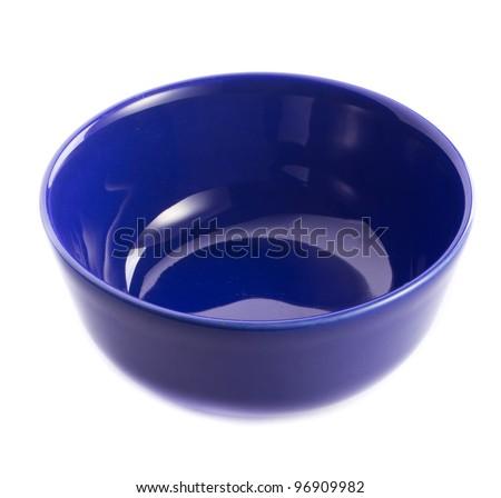 Blue bowl on the white background - stock photo
