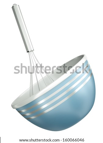 Blue bowl with a wire whisk isolated on a white background. 3D render. - stock photo