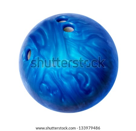 Blue bowling ball isolated on white - stock photo