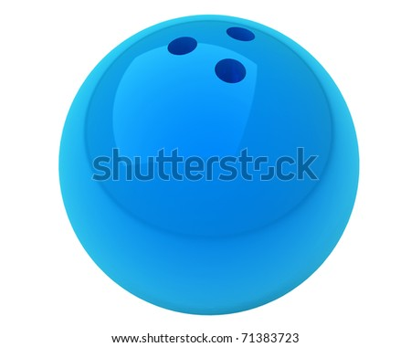 blue bowling ball with nice reflections isolated over white background - stock photo