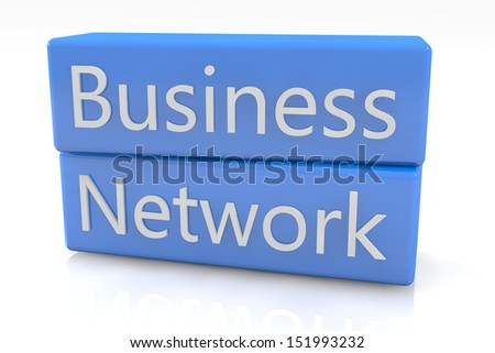 Blue box concept: Business Network on white background