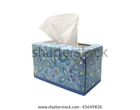 Blue Box of Tissues on White Background - stock photo
