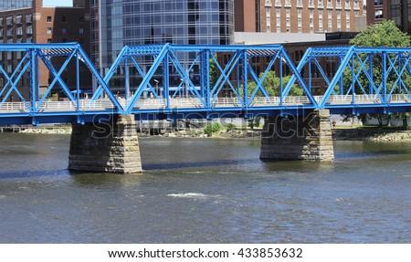 Blue Bridge, Grand Rapids - stock photo