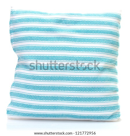 blue bright pillow isolated on white - stock photo