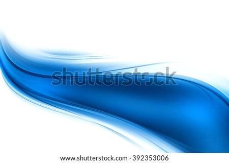 Blue bright waves art. Blurred effect background. Abstract creative graphic design. Decorative fractal style. - stock photo