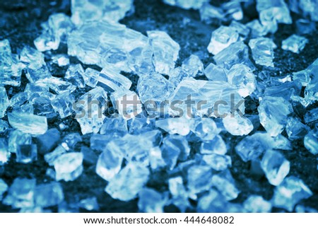 Blue broken glassy cubes - stock photo