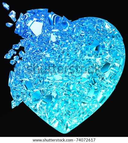 Blue Broken Heart: unrequited love, death, disease or pain. Isolated on black - stock photo