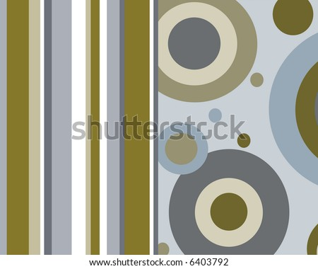 Blue, brown and tan circles and stripes