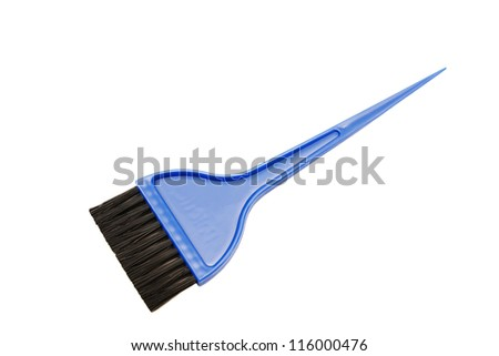 Blue brush with a sharp tip for coloring hair isolated on white background