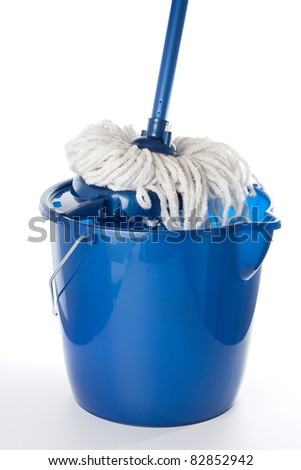 Blue bucket with cleaning mop
