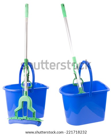 blue buckets and mops in 2 compositions. isolated on white background. - stock photo