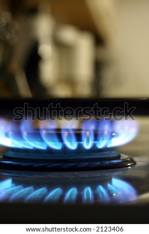 Blue burning stove-top flame - stock photo