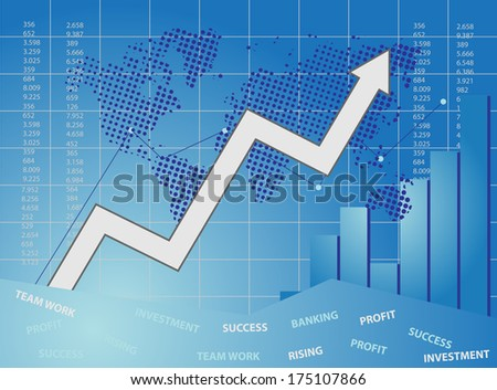 Blue business card with chart and map of world - stock photo