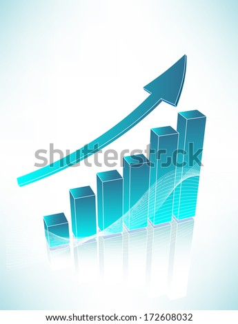 Blue business chart with blue arrow
