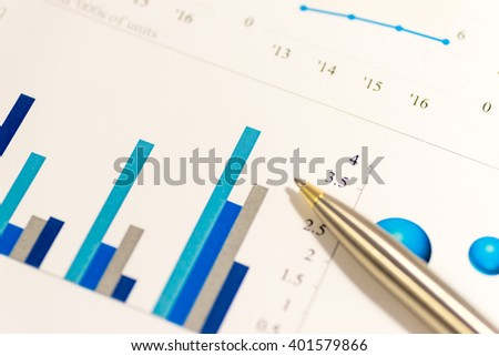 Blue business charts - stock photo