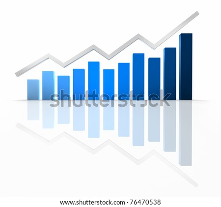 Blue business graph reflected in the floor - stock photo