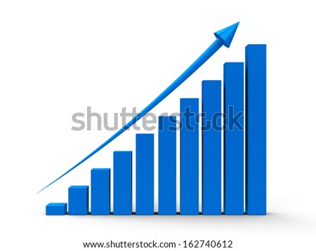 Blue business graph with blue arrow up, three-dimensional rendering - stock photo