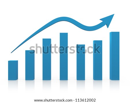 Blue business growth chart with reflection and arrow, isolated on white background. - stock photo
