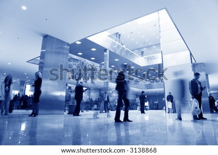 blue business hall - stock photo