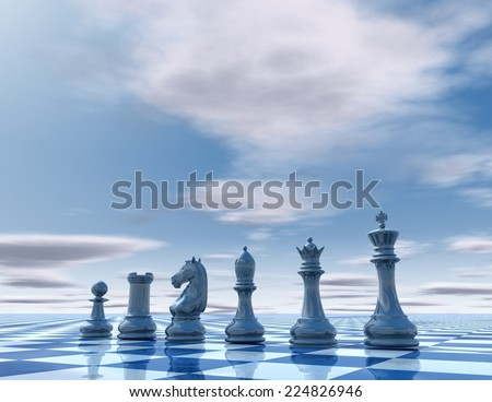 Blue business presentation template with chess and copy space. - stock photo