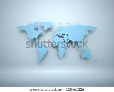 Blue business world map