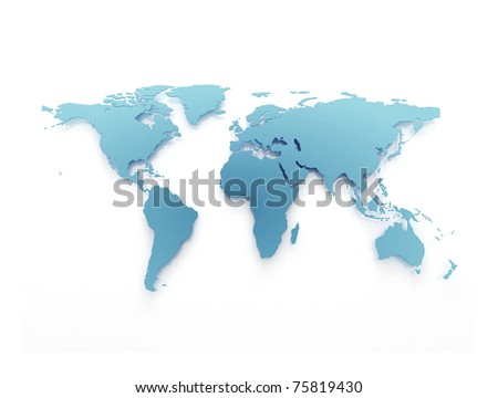 Blue business world map - stock photo