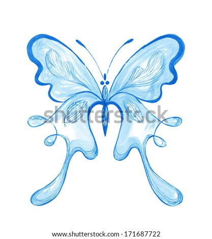 Blue Butterfly � watercolor painting  - stock photo