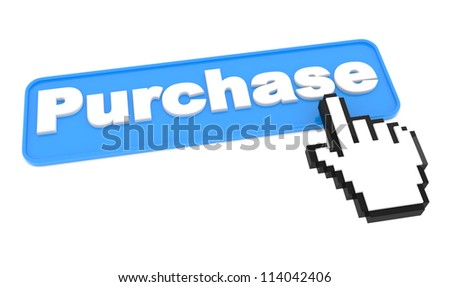 Blue Button for Purchases with Hand Shape Cursor on White. Online shop. - stock photo