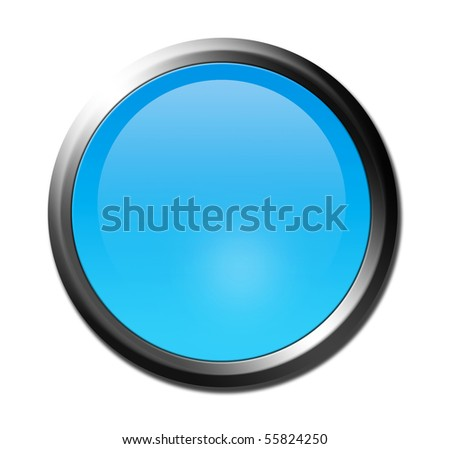 Blue button with chrome border over white background. Illustration - stock photo