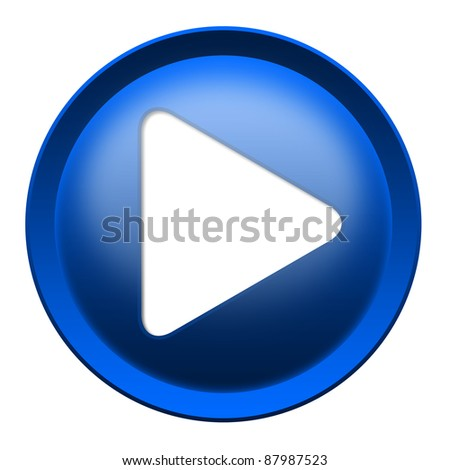 Blue button with white triangle turned right isolated over white background