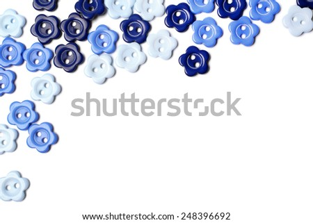 Blue buttons on white background - stock photo