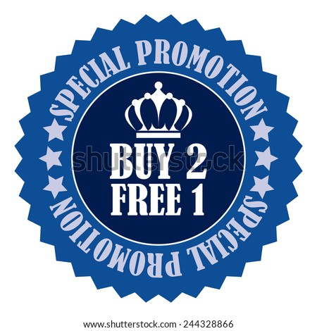 blue buy 2 free 1 special promotion promotional sale icon, tag, label, badge, sign, sticker isolated on white  - stock photo