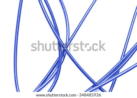 blue cable on a white background