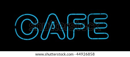 Blue cafe neon sign isolated on black - stock photo