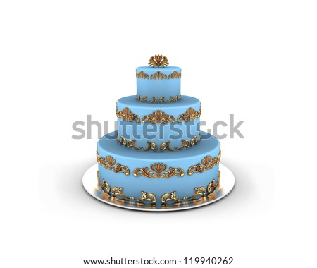 Blue cake on three floors with gold ornaments on it isolated on white background - stock photo