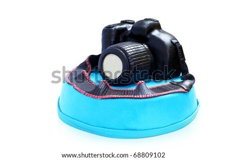 Blue Cake with chocolate photocamera