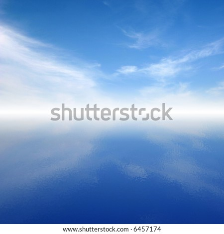 Blue calm clouds on sky reflected in water and mystic horizon. - stock photo