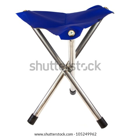 Blue camping chair isolated on a white background.