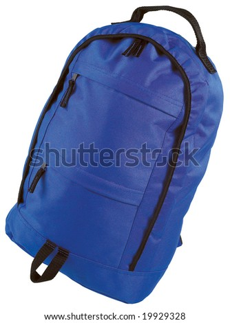 Blue canvas backpack isolated on white with clipping path
