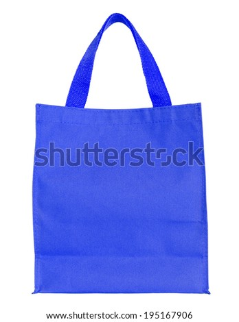 blue canvas shopping bag isolated on white background with clipping path - stock photo