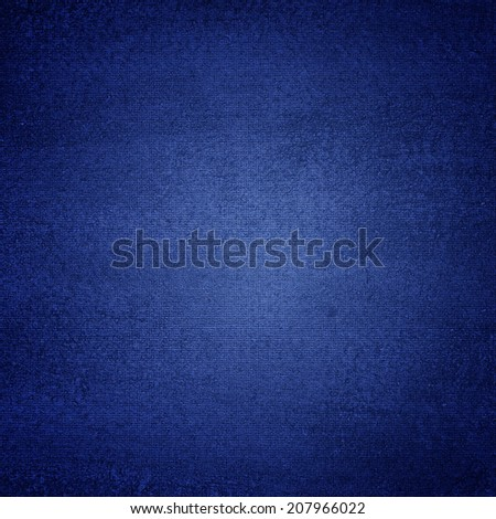 Blue canvas texture abstract  background with vignette - stock photo