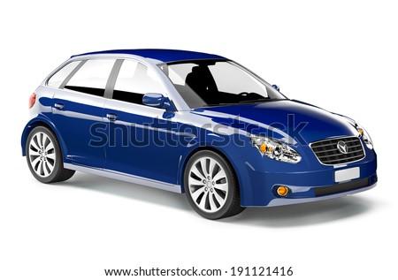 Blue car - stock photo