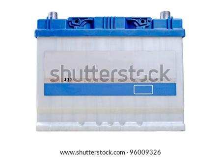 Blue car battery isolated on white background - stock photo