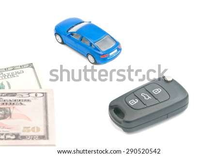 blue car, car keys and dollar notes on white - stock photo