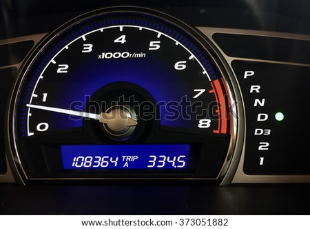 Blue car dashboard