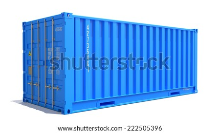 Blue Cargo Container Isolated on White Background.  Shipment Concept. - stock photo
