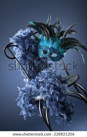 Blue carnival mask  - stock photo
