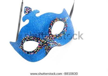 Blue carnival mask isolated on white - stock photo
